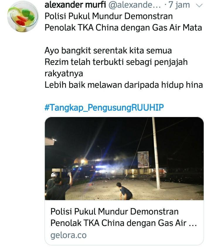 Trending di Twitter, Demo TKA di Kendari Pakai Tagar Tangkap_PengusungRUUHIP